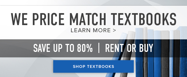 We price match textbooks. Click to learn more. Save up to 80%. Rent or buy. Click to shop Textbooks.