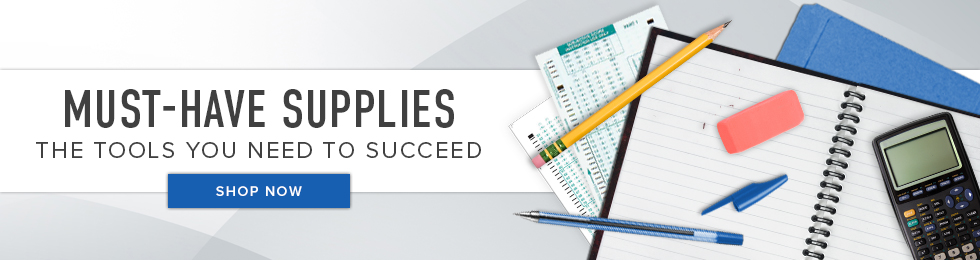 Picture of school supplies. Must-Have Supplies: the tools you need to succeed. Click to shop now.